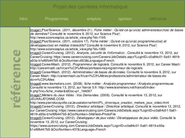 Projet des carrières informatiqueIntro             Programmes                   emplois               opinion             ...