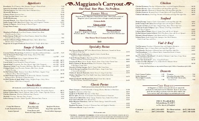 Carryout and delivery menu for Carryout menu