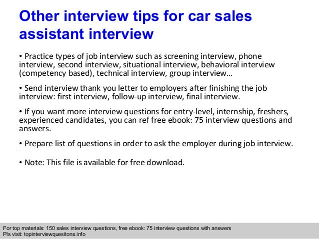 Car sales assistant interview questions and answers