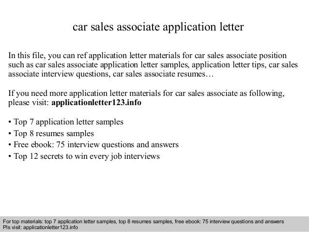 Car sales associate application letter
