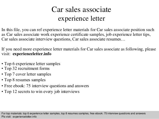 Car sales associate experience letter
