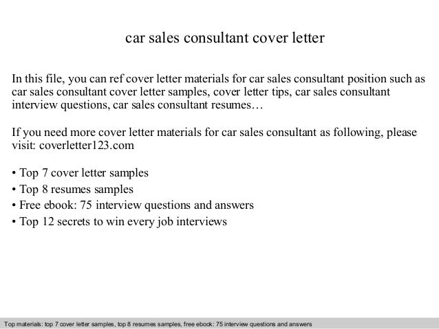 Car Sales Consultant Cover Letter In This File, You Can Ref Cover Letter  Materials For ...