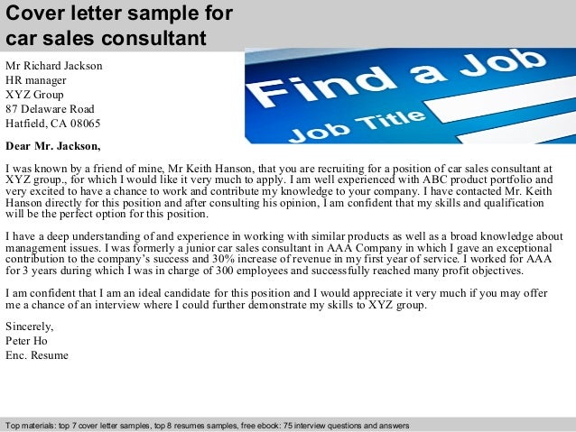 Car sales consultant cover letter