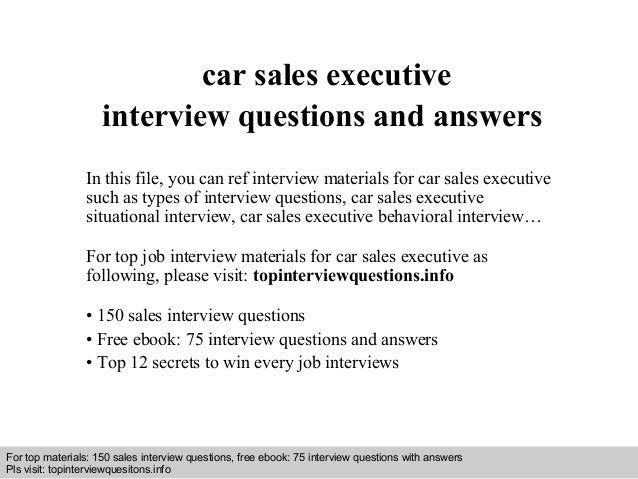 Car sales executive interview questions and answers