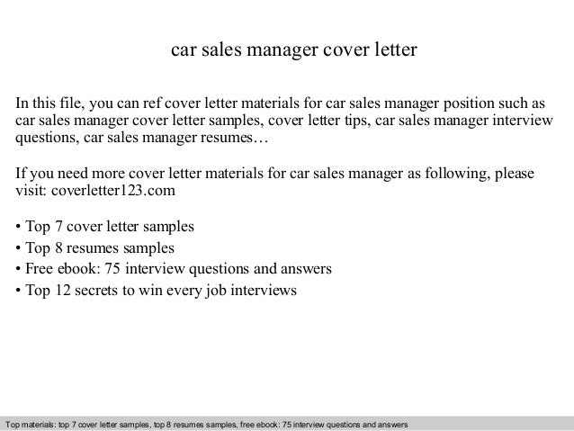 Cover Letter Examples For Car Sales - Car Dealership Cover Letter