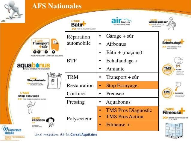 AFS Nationales Réparation automobile • Garage + sûr • Airbonus BTP • Bâtir + (maçons) • Echafaudage + • Amiante TRM • Tran...