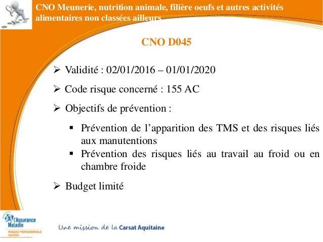 CNO Meunerie, nutrition animale, filière oeufs et autres activités alimentaires non classées ailleurs  Validité : 02/01/2...