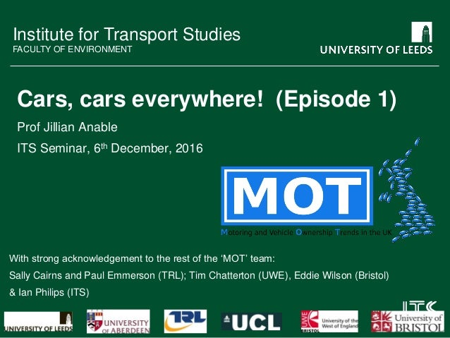 Institute for Transport Studies FACULTY OF ENVIRONMENT Cars, cars everywhere! (Episode 1) Prof Jillian Anable ITS Seminar,...