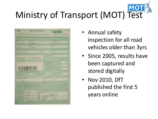MOT data (DVSA) • 2005-2014 • 325 million tests • Varying intervals between tests • One row per test Vehicle stock data (D...