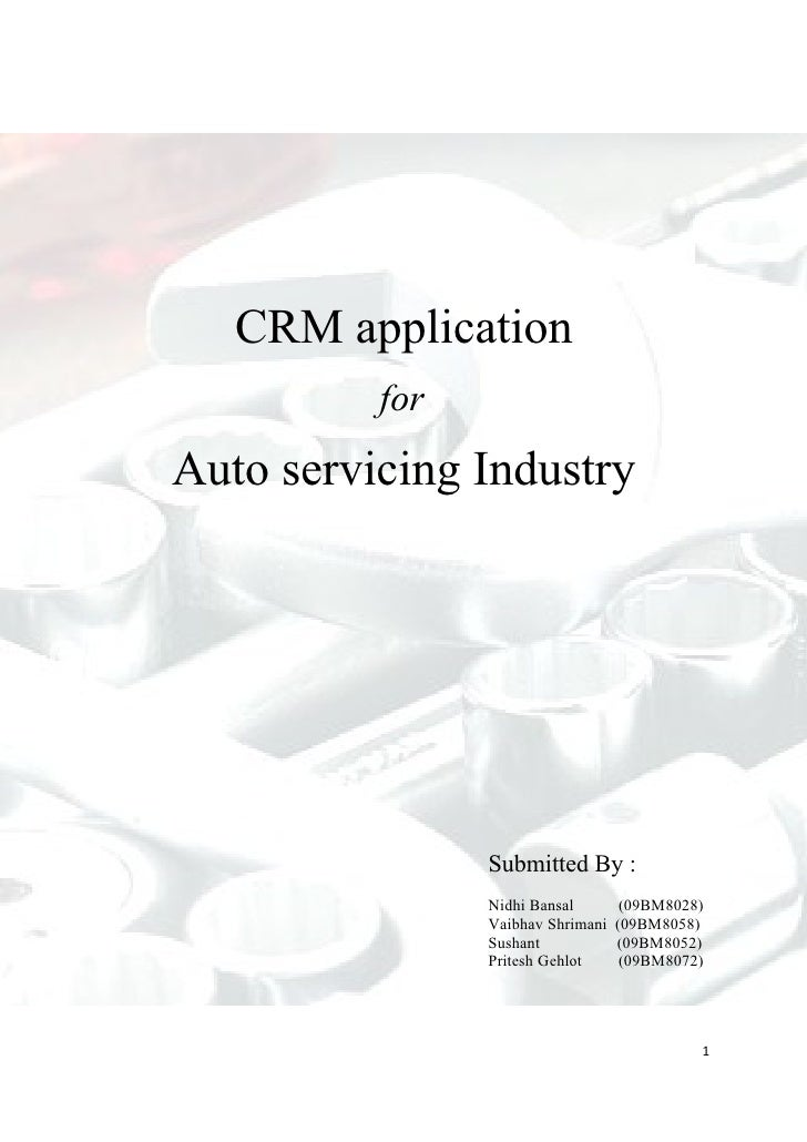 CRM application           for Auto servicing Industry                     Submitted By :                 Nidhi Bansal     ...