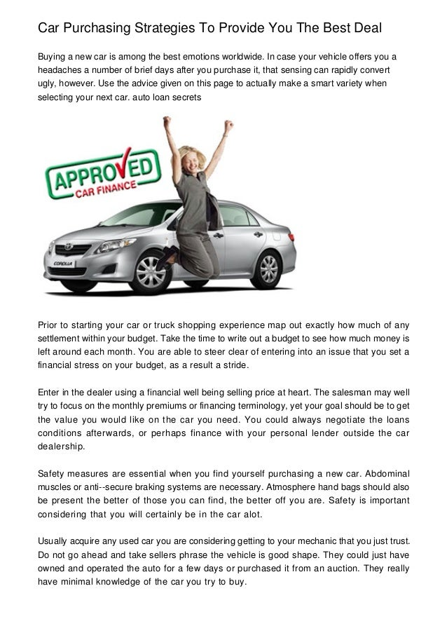 Car Purchasing Strategies To Provide You The Best Deal