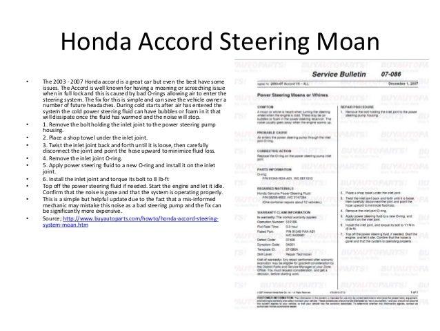 Car steering for Honda service bulletin