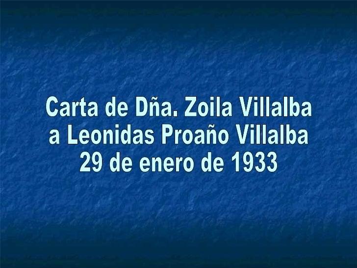 Carta de Dña. Zoila Villalba a Leonidas Proaño Villalba 29 de enero de 1933