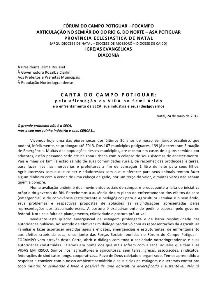 FÓRUM DO CAMPO POTIGUAR – FOCAMPO           ARTICULAÇÃO NO SEMIÁRIDO DO RIO G. DO NORTE – ASA POTIGUAR                    ...