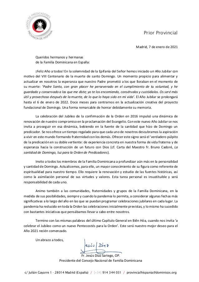 Prior Provincial c/ Julián Gayarre 1 - 28014 Madrid (España) / [+34] 914 344 031 / provincialhispania@dominicos.org Madrid...