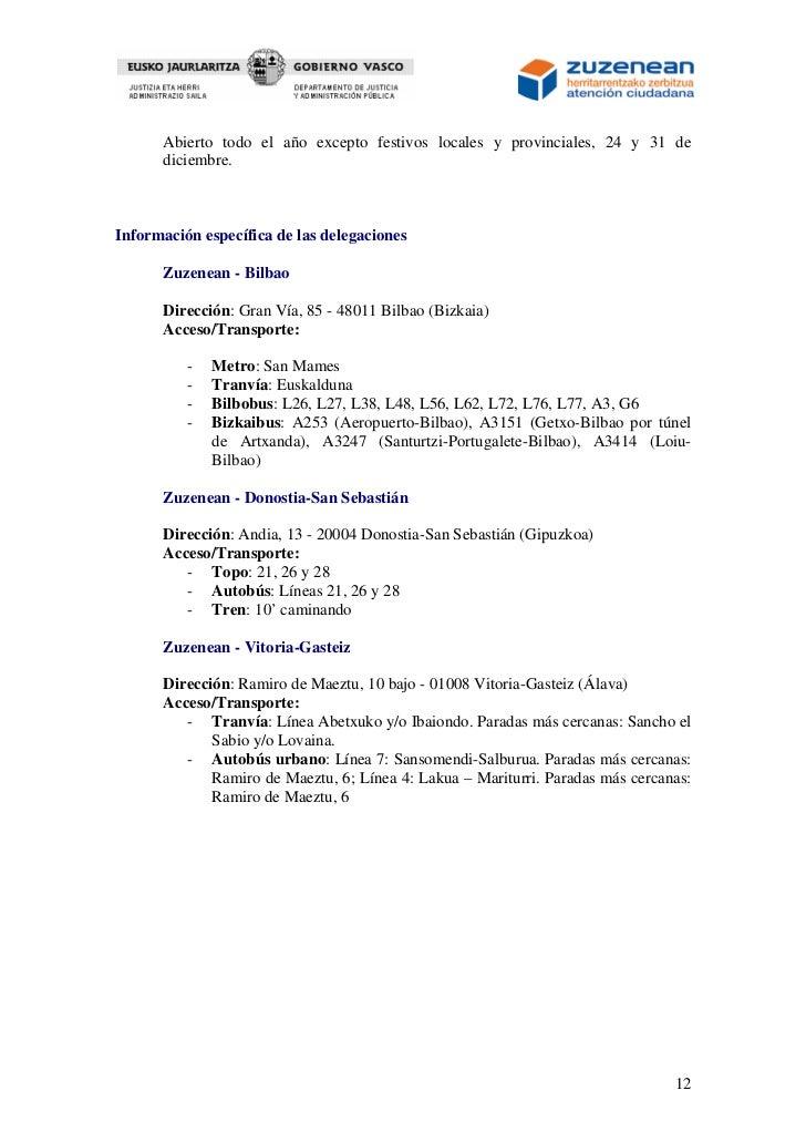 Carta de servicios zuzenean for Oficina zuzenean bilbao