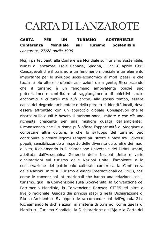 CARTADI LANZAROTE CARTA PER UN TURISMO SOSTENIBILE Conferenza Mondiale sul Turismo Sostenibile Lanzarote, 27/28 aprile 199...