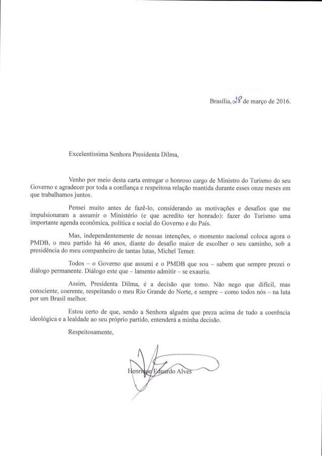 Carta demissão - Ministro do Turismo Henrique Eduardo Alves