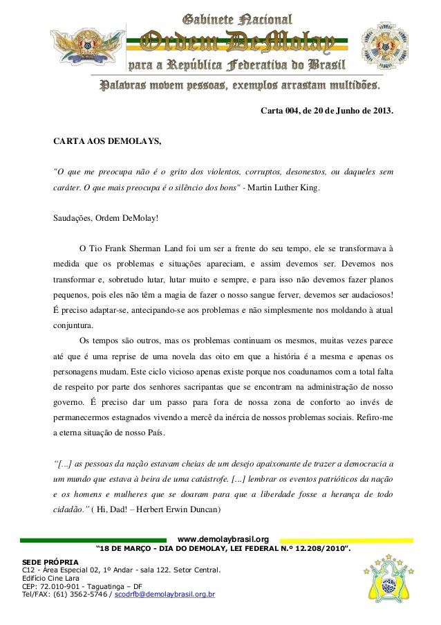 """www.demolaybrasil.org""""18 DE MARÇO - DIA DO DEMOLAY, LEI FEDERAL N.º 12.208/2010"""".SEDE PRÓPRIAC12 - Área Especial 02, 1º An..."""