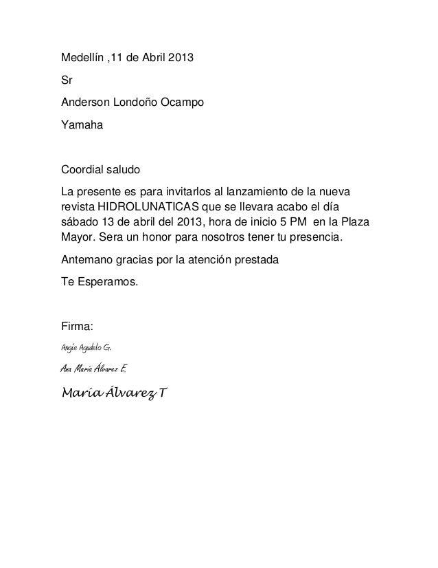 Medellín ,11 de Abril 2013SrAnderson Londoño OcampoYamahaCoordial saludoLa presente es para invitarlos al lanzamiento de l...