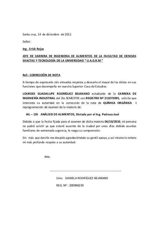 Santa cruz, 14 de diciembre de 2011 Señor: Ing . Erick Rojas JEFE DE CARRERA DE INGENIERIA DE ALIMENTOS DE LA FACULTAD DE ...