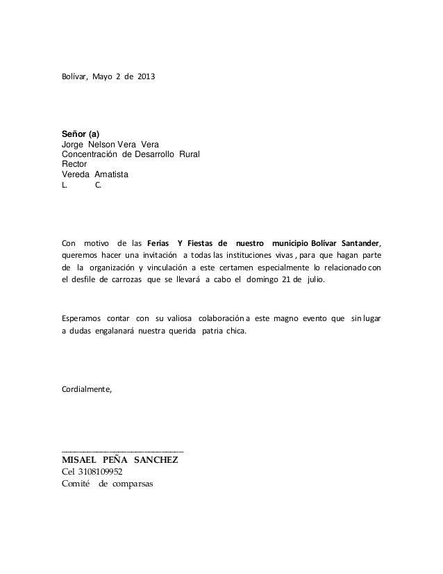 Bolívar, Mayo 2 de 2013Señor (a)Jorge Nelson Vera VeraConcentración de Desarrollo RuralRectorVereda AmatistaL. C.Con motiv...