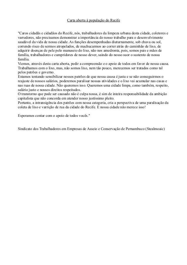 """Carta aberta à população do Recife """"Caros cidadãs e cidadãos do Recife, nós, trabalhadores da limpeza urbana desta cidade,..."""