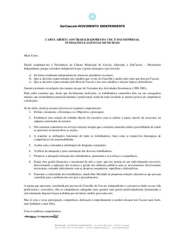 SerCascais-MOVIMENTO INDEPENDENTE CARTA ABERTA AOS TRABALHADORES DA CMC E DAS EMPRESAS, FUNDAÇÕES E AGÊNCIAS MUNICIPAIS Me...