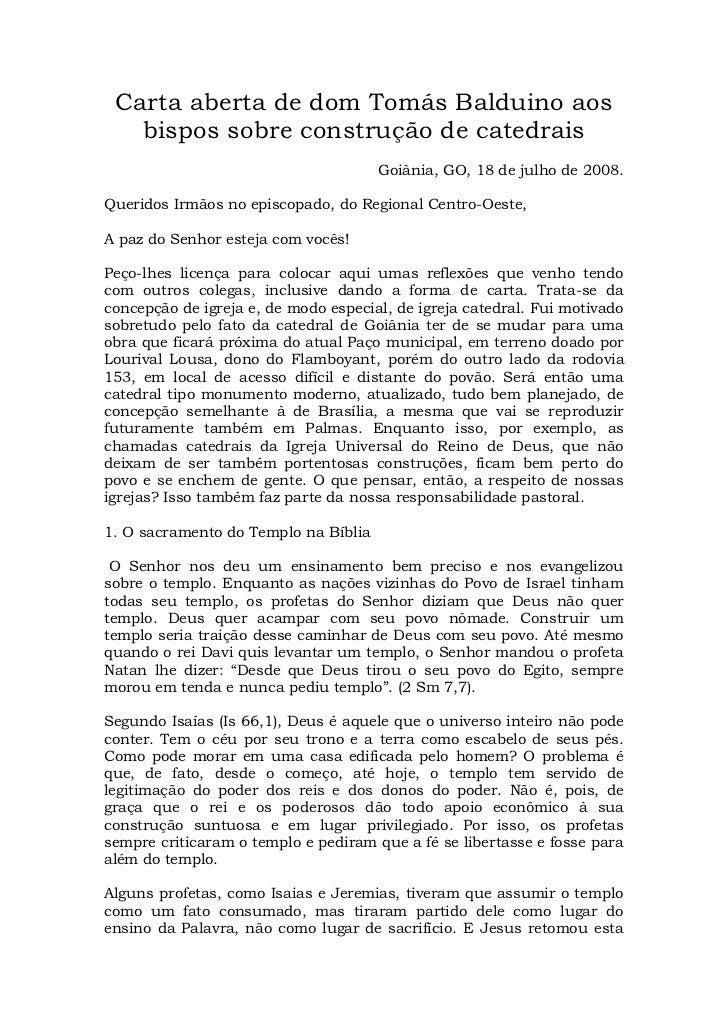 Carta aberta de dom Tomás Balduino aos   bispos sobre construção de catedrais                                      Goiânia...