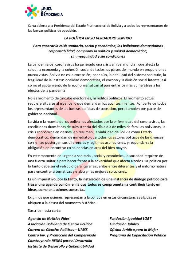 CartaabiertaalaPresidentadelEstadoPlurinacionaldeBoliviayatodoslosrepresentantesde lasfuerzaspolíticasd...