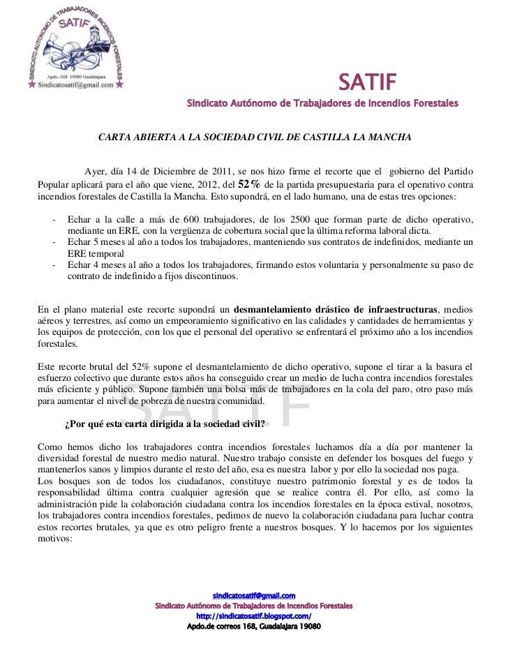 SATIF                                      Sindicato Autónomo de Trabajadores de Incendios Forestales               CARTA ...