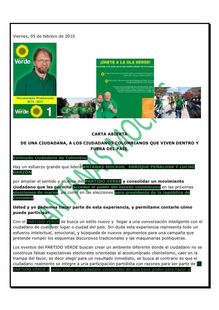 Viernes, 05 de febrero de 2010                                            CARTA ABIERTA     DE UNA CIUDADANA, A LOS CIUDAD...