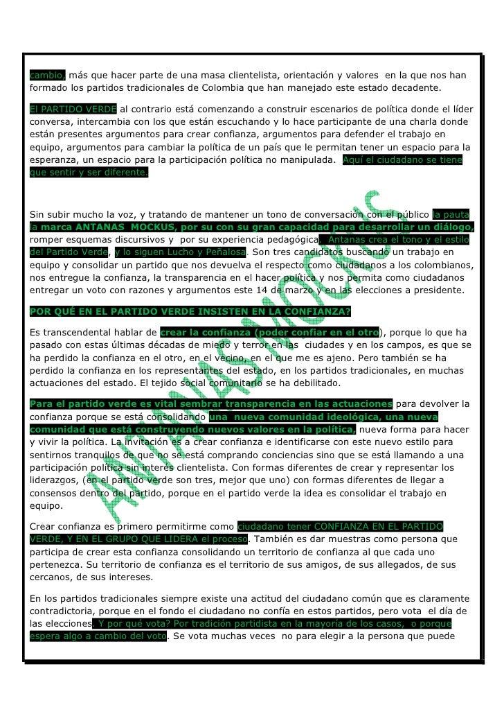 CARTA VERDE A LOS CIUDADANOS DE COLOMBIA No. 1.Carta Abierta A Los Ciudadanos 1 Slide 2