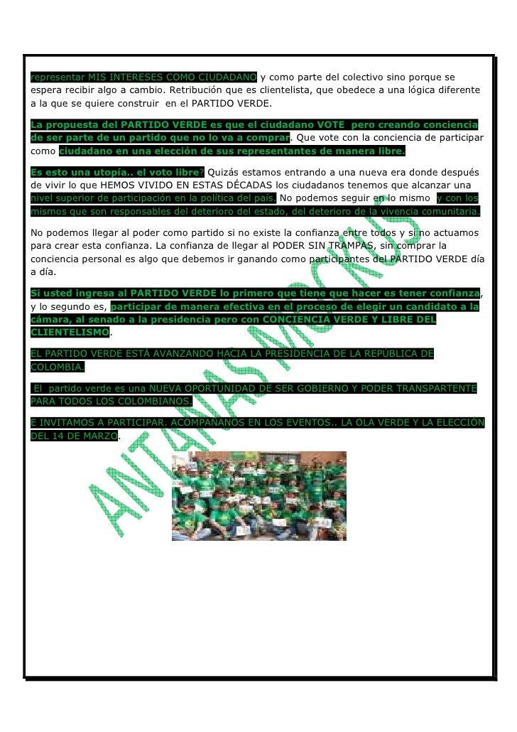 CARTA VERDE A LOS CIUDADANOS DE COLOMBIA No. 1.Carta Abierta A Los Ciudadanos 1 Slide 3