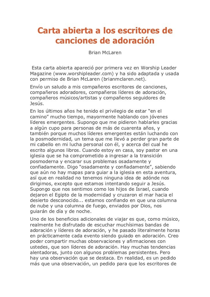 Carta abierta a los escritores de       canciones de adoración                         Brian McLaren Esta carta abierta ap...
