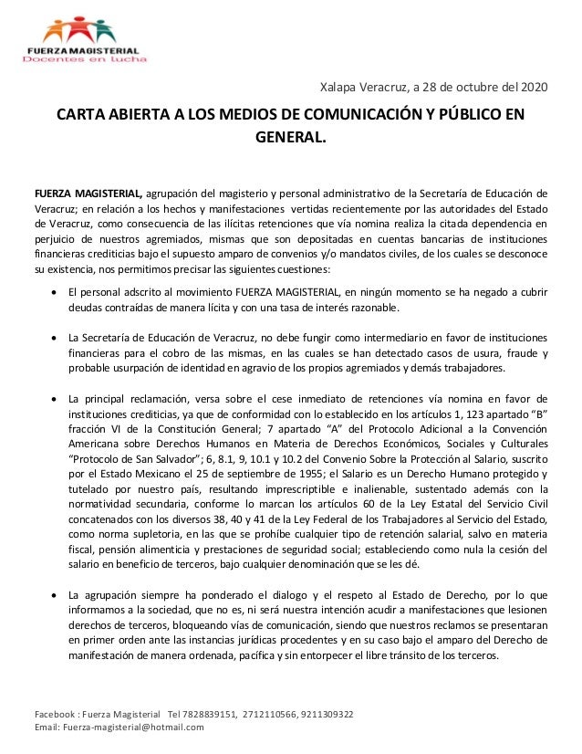 Facebook : Fuerza Magisterial Tel 7828839151, 2712110566, 9211309322 Email: Fuerza-magisterial@hotmail.com Xalapa Veracruz...
