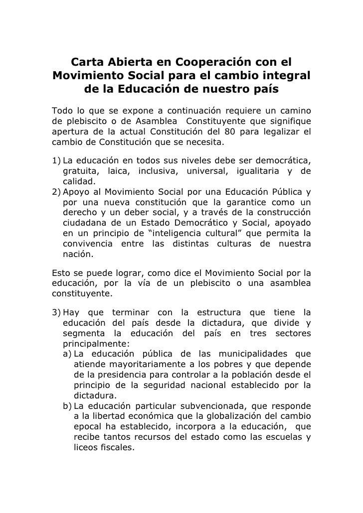 Carta Abierta en Cooperación con el Movimiento Social para el cambio integral de la Educación de nuestro país<br /> <br />...