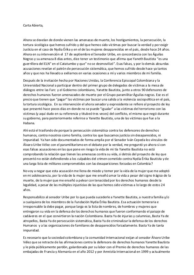 Carta Abierta,  Ahora se develan de donde vienen las amenazas de muerte, los hostigamientos, la persecución, la tortura si...