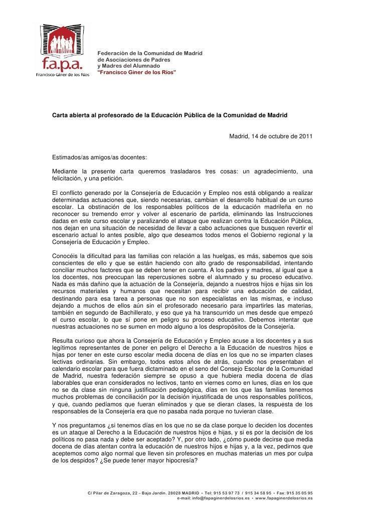 Federación de la Comunidad de Madrid                 de Asociaciones de Padres                 y Madres del Alumnado      ...