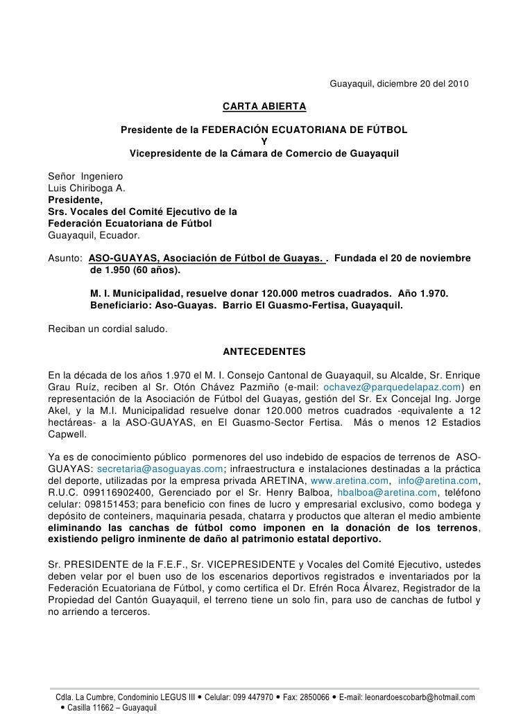 Carta abierta FEF
