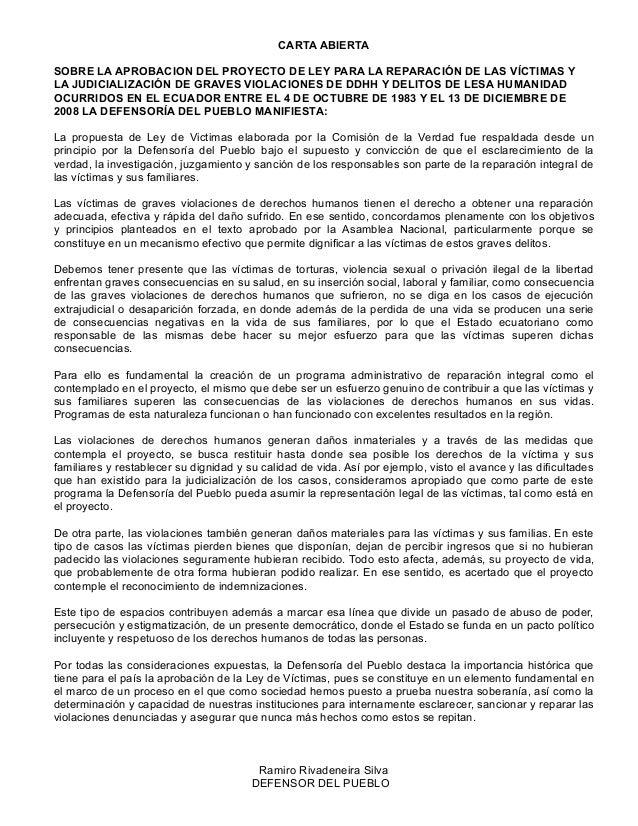 CARTA ABIERTA SOBRE LA APROBACION DEL PROYECTO DE LEY PARA LA REPARACIÓN DE LAS VÍCTIMAS Y LA JUDICIALIZACIÓN DE GRAVES VI...