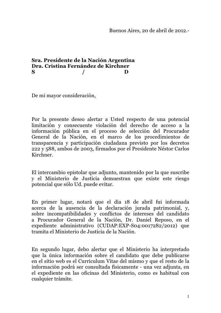 Carta a la Presidenta sobre Información Incompleta del Candidato a Procurador