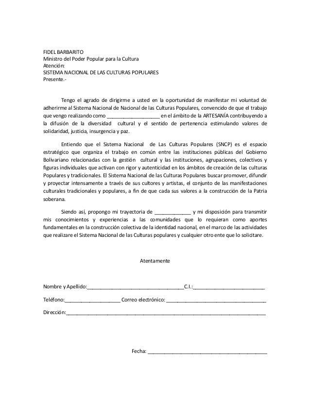 FIDEL BARBARITO Ministro del Poder Popular para la Cultura Atención: SISTEMA NACIONAL DE LAS CULTURAS POPULARES Presente.-...