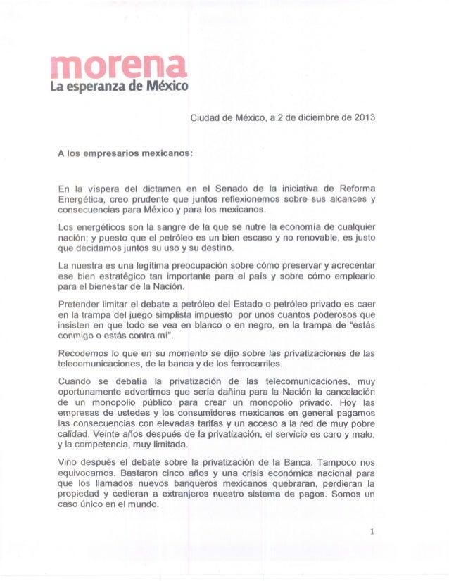 Carta López Obrador a empresarios mexicanos 2013
