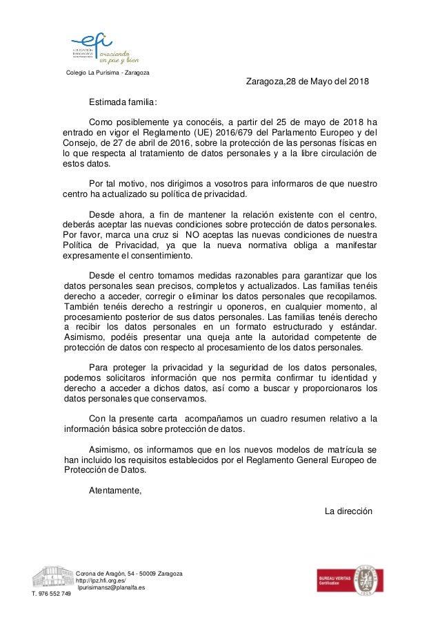 Colegio La Pur�sima - Zaragoza Corona de Arag�n, 54 - 50009 Zaragoza http://lpz.hfi.org.es/ lpurisimansz@planalfa.es T. 97...