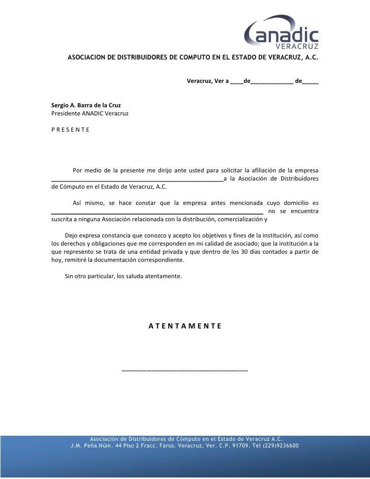 Carta Afiliación