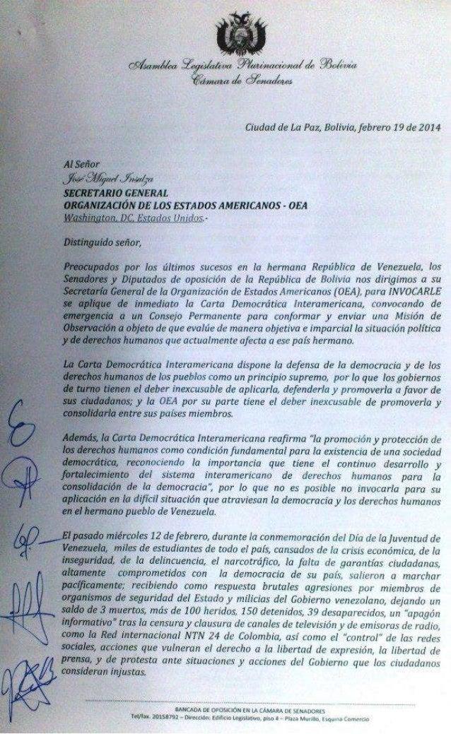Carta a la OEA - Insulza