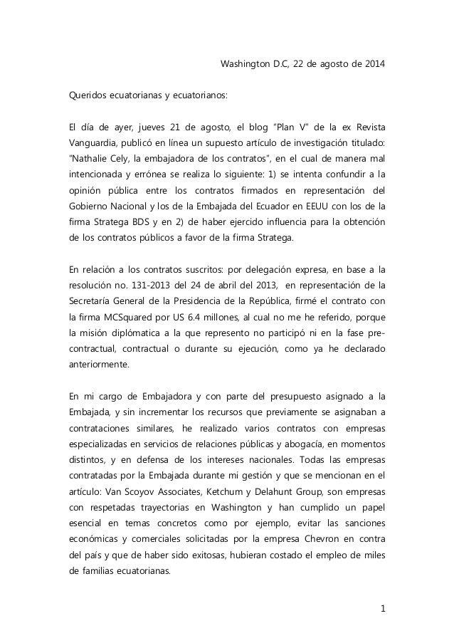 1 Washington D.C, 22 de agosto de 2014 Queridos ecuatorianas y ecuatorianos: El día de ayer, jueves 21 de agosto, el blog ...