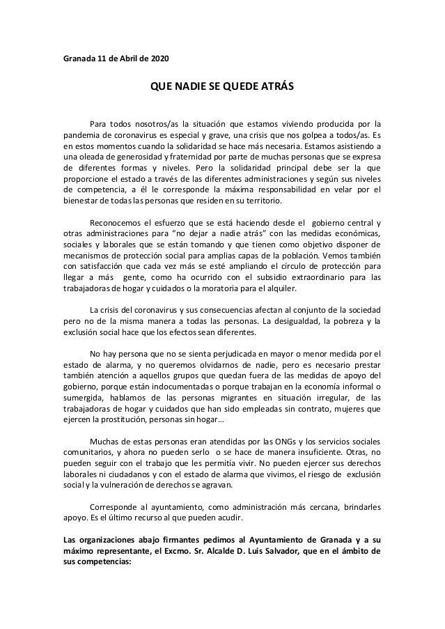 Granada 11 de Abril de 2020 QUE NADIE SE QUEDE ATRÁS Para todos nosotros/as la situación que estamos viviendo producida po...