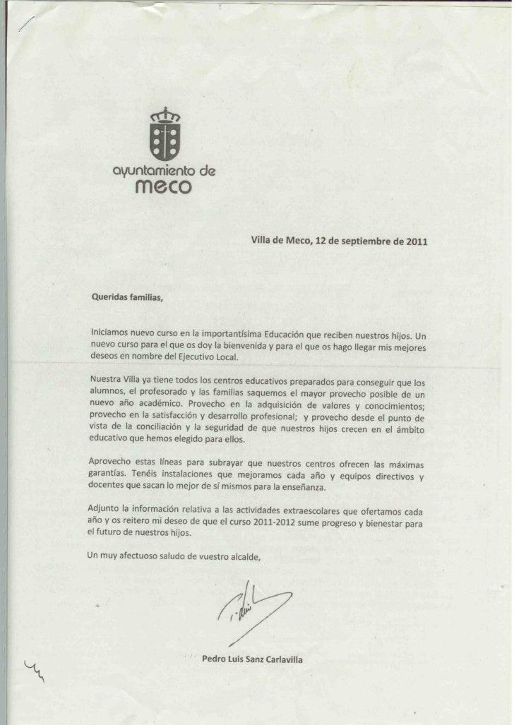 Carta inicio de clases 2011 Alcalde de Meco